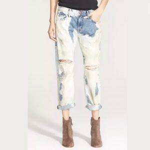 CURRENT/ELLIOTT Boyfriend Dirty Bleach Jeans